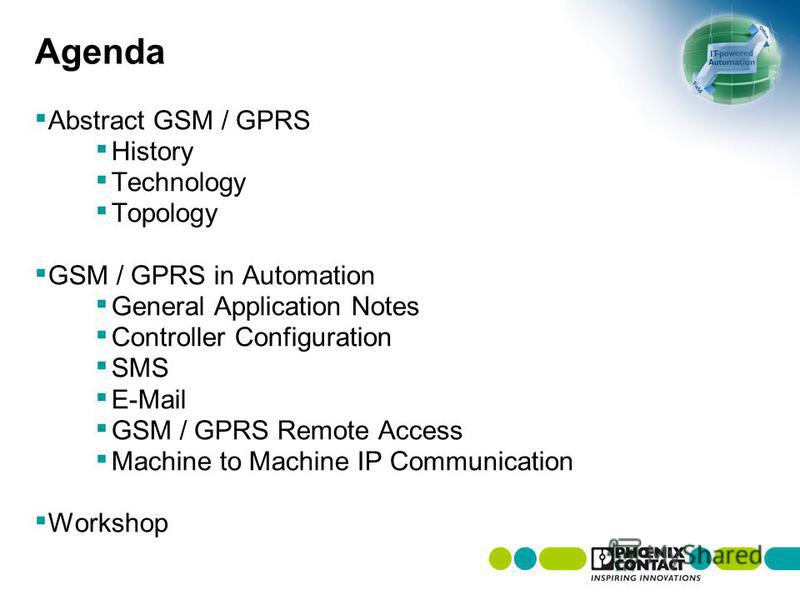Agenda Abstract GSM / GPRS History Technology Topology GSM / GPRS in Automation General Application Notes Controller Configuration SMS E-Mail GSM / GPRS Remote Access Machine to Machine IP Communication Workshop