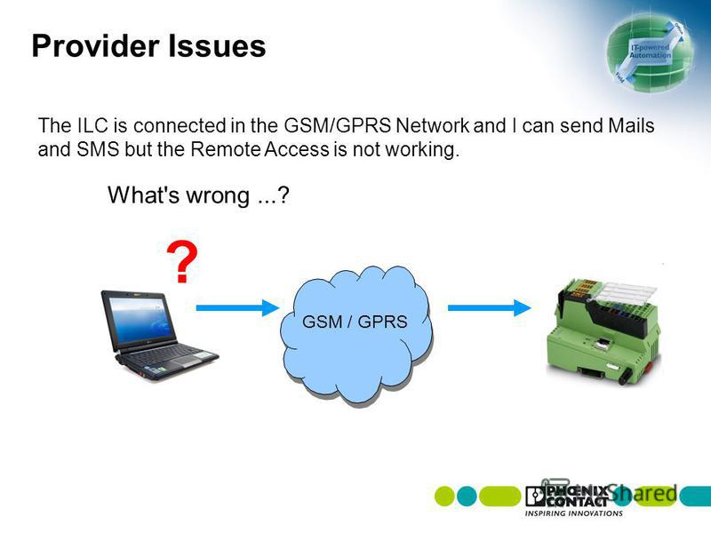 Provider Issues The ILC is connected in the GSM/GPRS Network and I can send Mails and SMS but the Remote Access is not working. What's wrong...? GSM / GPRS ?