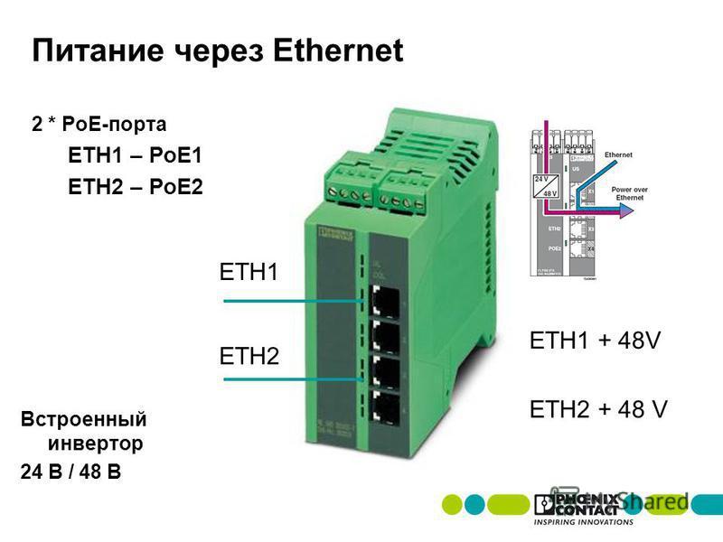 Питание через Ethernet 2 * PoE-порта ETH1 – PoE1 ETH2 – PoE2 ETH1 ETH2 + 48 V ETH2 ETH1 + 48V Встроенный инвертор 24 В / 48 В
