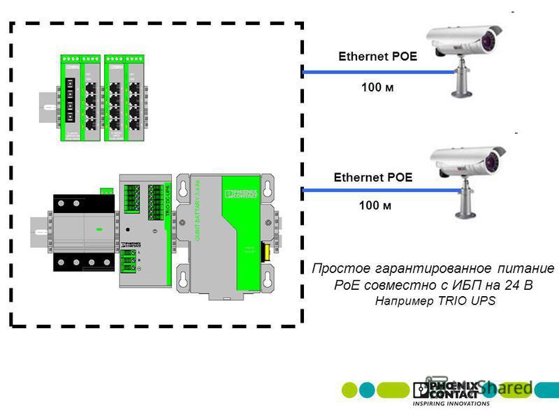 Ethernet POE 100 м Простое гарантированное питание PoE совместно с ИБП на 24 В Например TRIO UPS