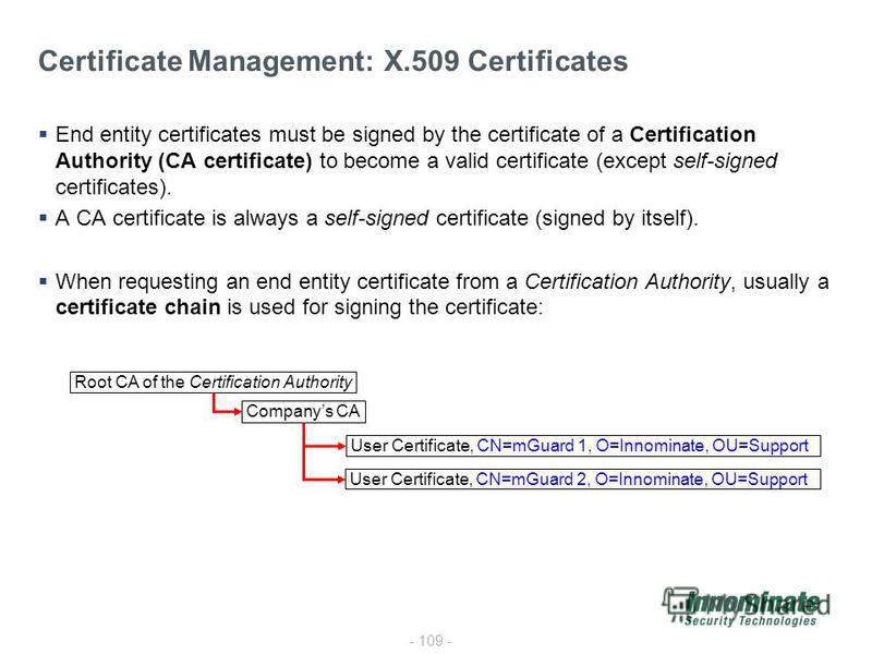 - 109 - Certificate Management: X.509 Certificates End entity certificates must be signed by the certificate of a Certification Authority (CA certificate) to become a valid certificate (except self-signed certificates). A CA certificate is always a s