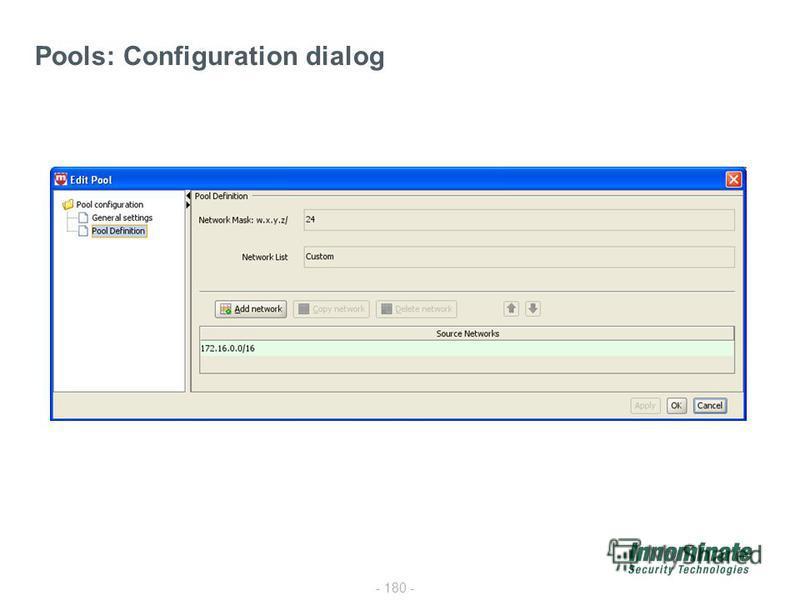 - 180 - Pools: Configuration dialog