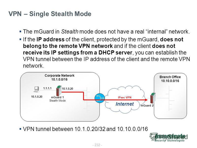 - 232 - VPN – Single Stealth Mode The mGuard in Stealth mode does not have a real internal network. If the IP address of the client, protected by the mGuard, does not belong to the remote VPN network and if the client does not receive its IP settings