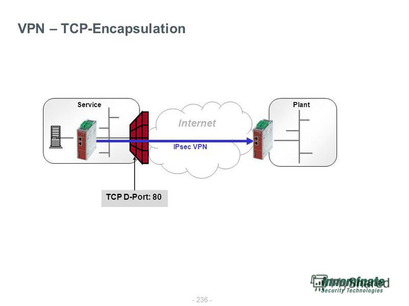- 236 - VPN – TCP-Encapsulation Internet PlantService IPsec VPN TCP D-Port: 80
