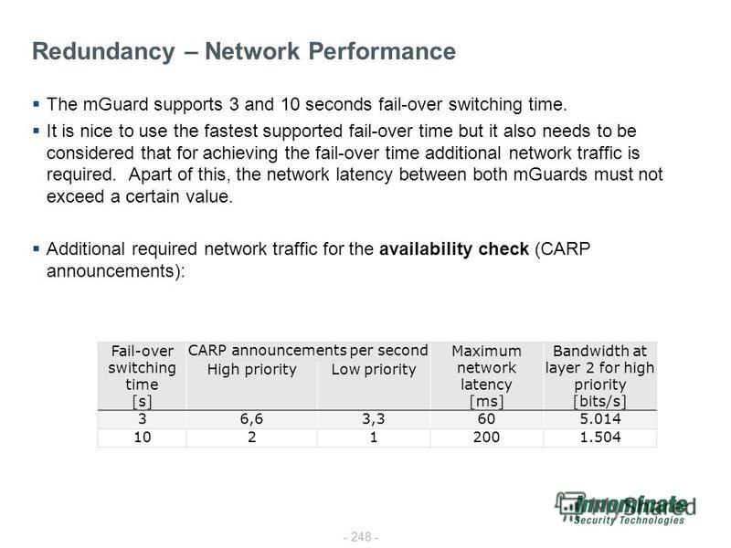 - 248 - The mGuard supports 3 and 10 seconds fail-over switching time. It is nice to use the fastest supported fail-over time but it also needs to be considered that for achieving the fail-over time additional network traffic is required. Apart of th