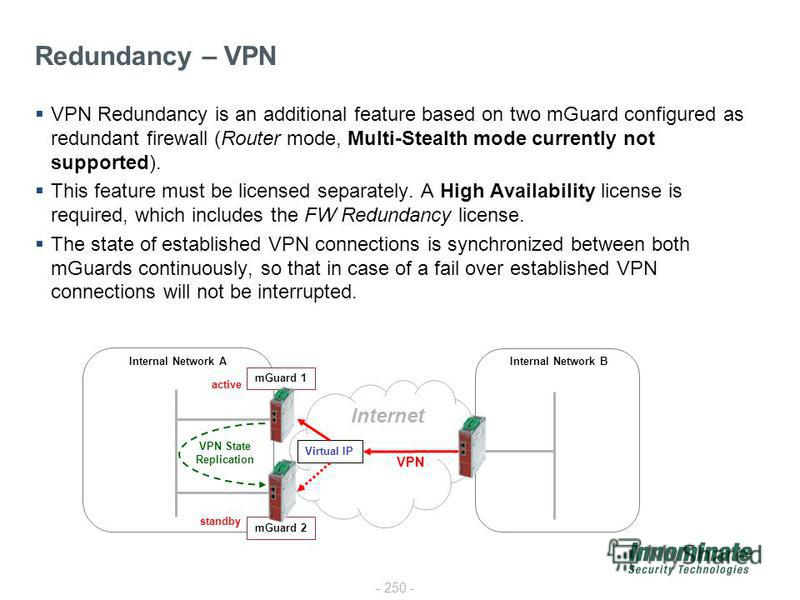 - 250 - VPN Redundancy is an additional feature based on two mGuard configured as redundant firewall (Router mode, Multi-Stealth mode currently not supported). This feature must be licensed separately. A High Availability license is required, which i