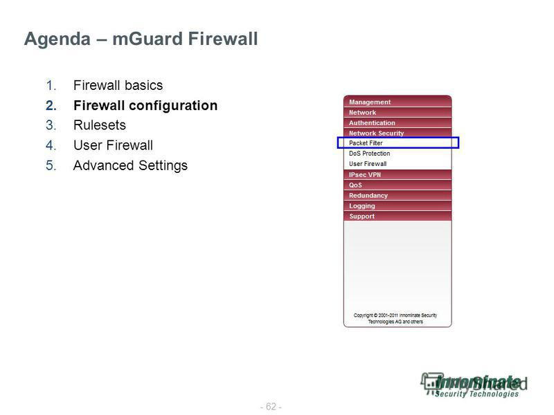 - 62 - 1.Firewall basics 2.Firewall configuration 3.Rulesets 4.User Firewall 5.Advanced Settings Agenda – mGuard Firewall