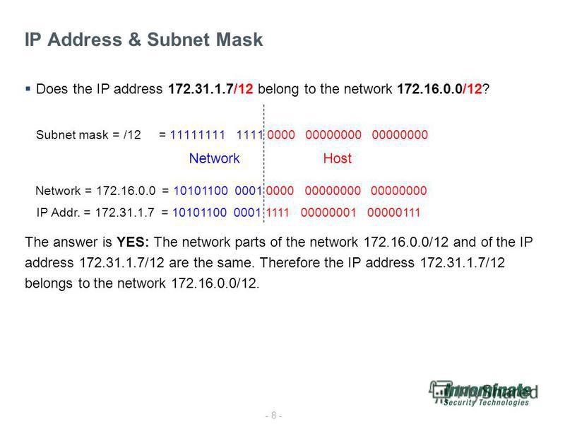 - 8 - Does the IP address 172.31.1.7/12 belong to the network 172.16.0.0/12? Subnet mask = /12 = 11111111 1111 0000 00000000 00000000 The answer is YES: The network parts of the network 172.16.0.0/12 and of the IP address 172.31.1.7/12 are the same.
