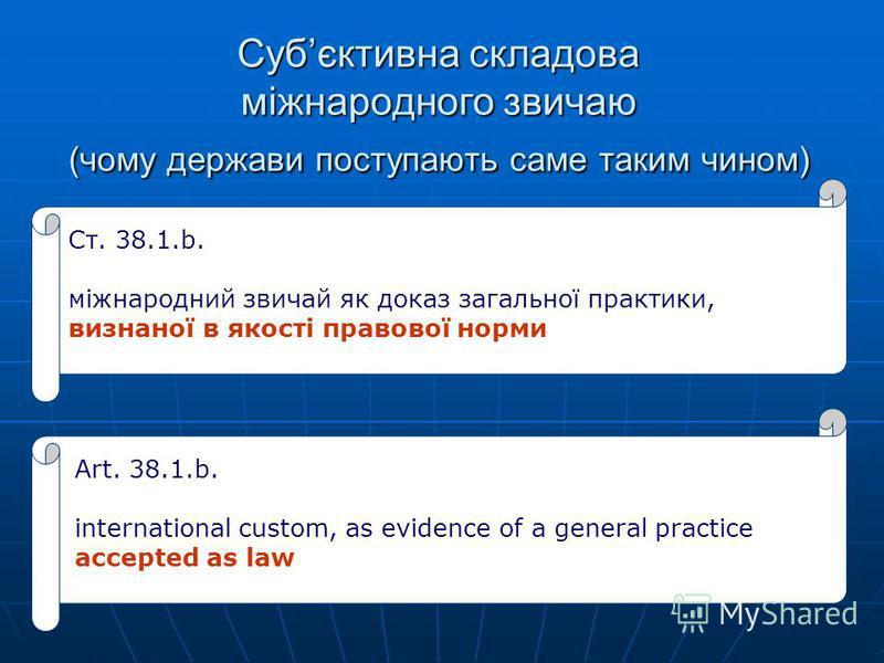 Субєктивна складова міжнародного звичаю (чому держави поступають саме таким чином) Ст. 38.1.b. міжнародний звичай як доказ загальної практики, визнаної в якості правової норми Art. 38.1.b. international custom, as evidence of a general practice accep