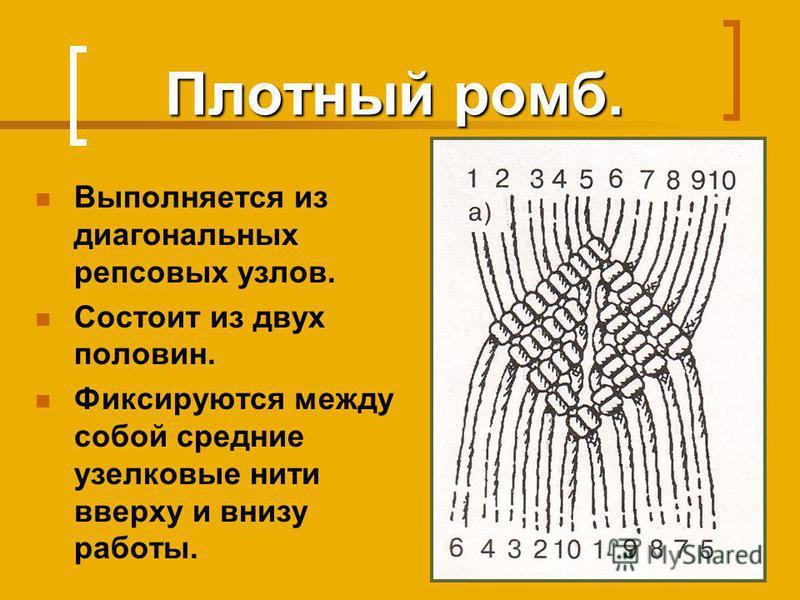 Плотный ромб. Выполняется из диагональных репсовых узлов. Состоит из двух половин. Фиксируются между собой средние узелковые нити вверху и внизу работы.