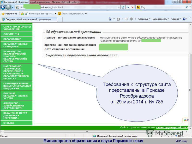 2015 год Требования к структуре сайта представлены в Приказе Рособрнадзора от 29 мая 2014 г. 785