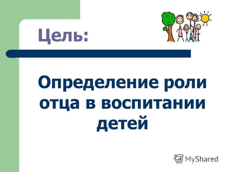 Цель: Определение роли отца в воспитании детей