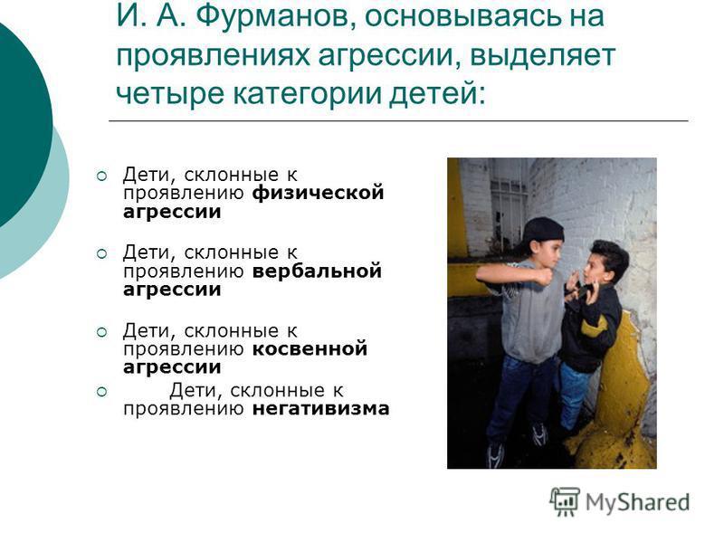 И. А. Фурманов, основываясь на проявлениях агрессии, выделяет четыре категории детей: Дети, склонные к проявлению физической агрессии Дети, склонные к проявлению вербальной агрессии Дети, склонные к проявлению косвенной агрессии Дети, склонные к проя