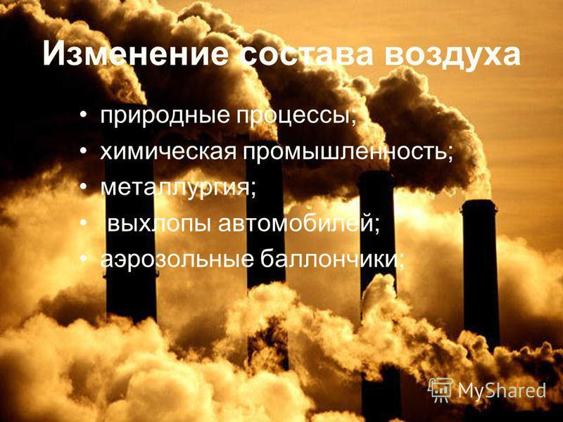 Изменение состава воздуха природные процессы; химическая промышленность; металлургия; выхлопы автомобилей; аэрозольные баллончики;