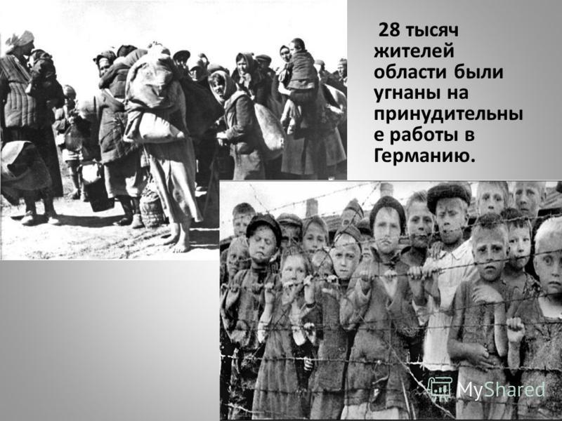 28 тысяч жителей области были угнаны на принудительны е работы в Германию.