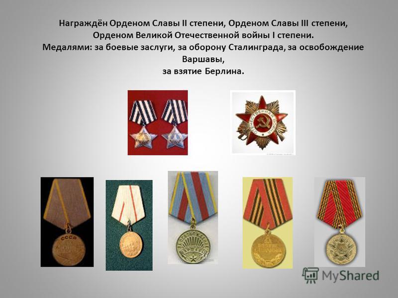 Награждён Орденом Славы II степени, Орденом Славы III степени, Орденом Великой Отечественной войны I степени. Медалями: за боевые заслуги, за оборону Сталинграда, за освобождение Варшавы, за взятие Берлина.