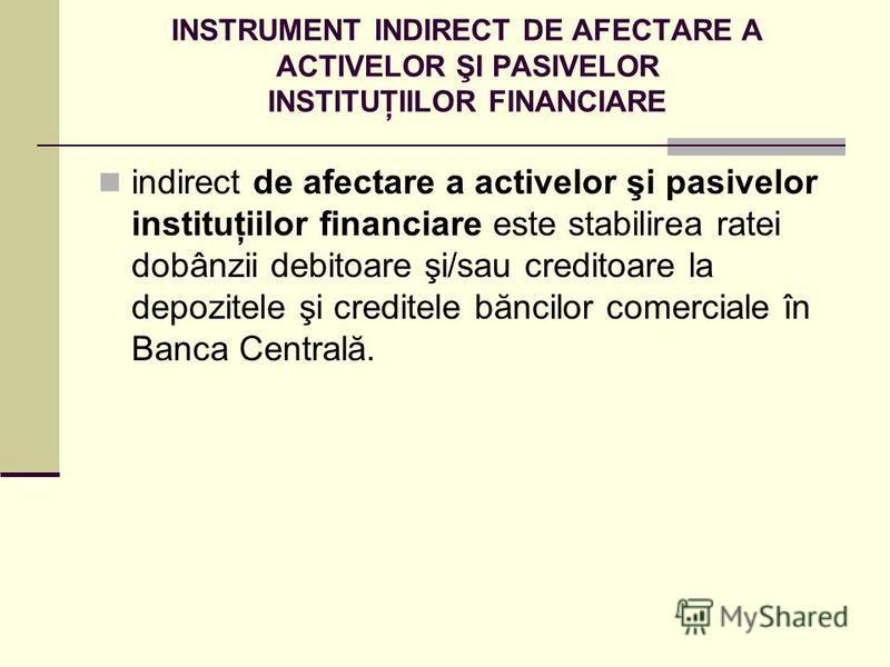 INSTRUMENT INDIRECT DE AFECTARE A ACTIVELOR ŞI PASIVELOR INSTITUŢIILOR FINANCIARE indirect de afectare a activelor şi pasivelor instituţiilor financiare este stabilirea ratei dobânzii debitoare şi/sau creditoare la depozitele şi creditele băncilor co