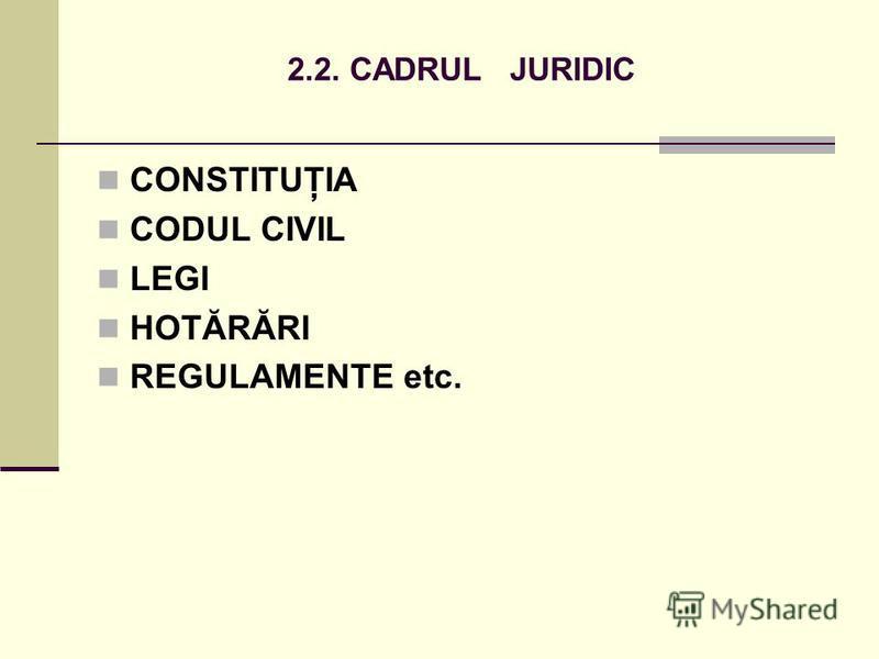 2.2. CADRUL JURIDIC CONSTITUŢIA CODUL CIVIL LEGI HOTĂRĂRI REGULAMENTE etc.