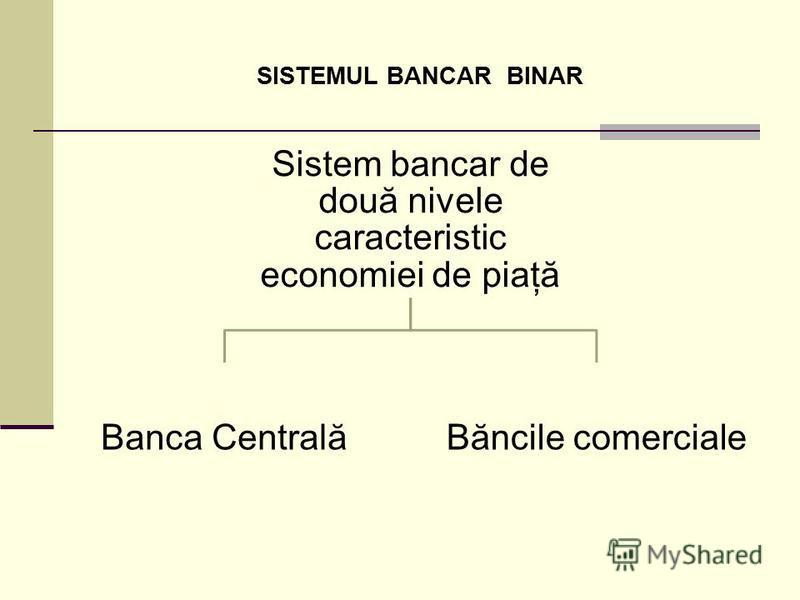 SISTEMUL BANCAR BINAR Sistem bancar de două nivele caracteristic economiei de piaţă Banca CentralăBăncile comerciale