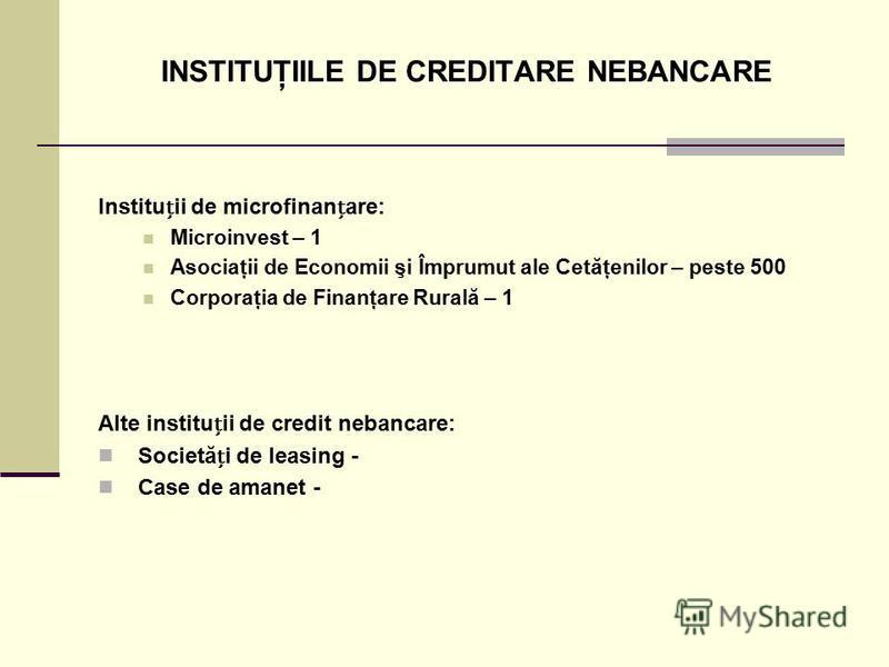 INSTITUŢIILE DE CREDITARE NEBANCARE Instituii de microfinanare: Microinvest – 1 Asociaţii de Economii şi Împrumut ale Cetăţenilor – peste 500 Corporaţia de Finanţare Rurală – 1 Alte instituii de credit nebancare: Societăi de leasing - Case de amanet