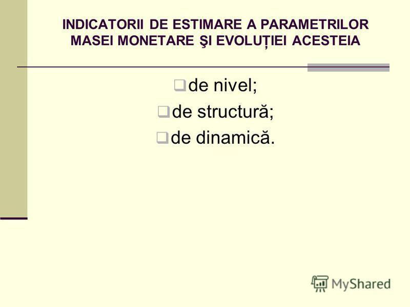 INDICATORII DE ESTIMARE A PARAMETRILOR MASEI MONETARE ŞI EVOLUŢIEI ACESTEIA de nivel; de structură; de dinamică.