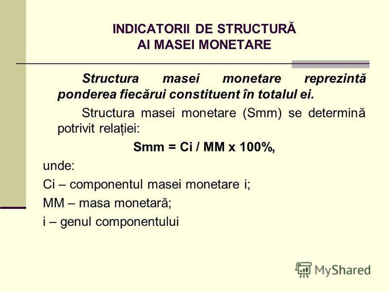INDICATORII DE STRUCTURĂ AI MASEI MONETARE Structura masei monetare reprezintă ponderea fiecărui constituent în totalul ei. Structura masei monetare (Smm) se determină potrivit relaţiei: Smm = Ci / MM x 100%, unde: Ci – componentul masei monetare i;