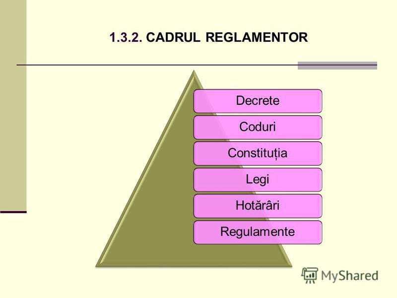 1.3.2. CADRUL REGLAMENTOR DecreteCoduriConstituţiaLegiHotărâriRegulamente