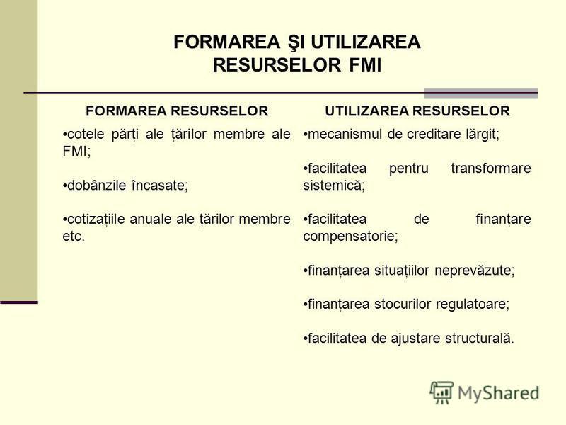 FORMAREA ŞI UTILIZAREA RESURSELOR FMI FORMAREA RESURSELORUTILIZAREA RESURSELOR cotele părţi ale ţărilor membre ale FMI; dobânzile încasate; cotizaţiile anuale ale ţărilor membre etc. mecanismul de creditare lărgit; facilitatea pentru transformare sis