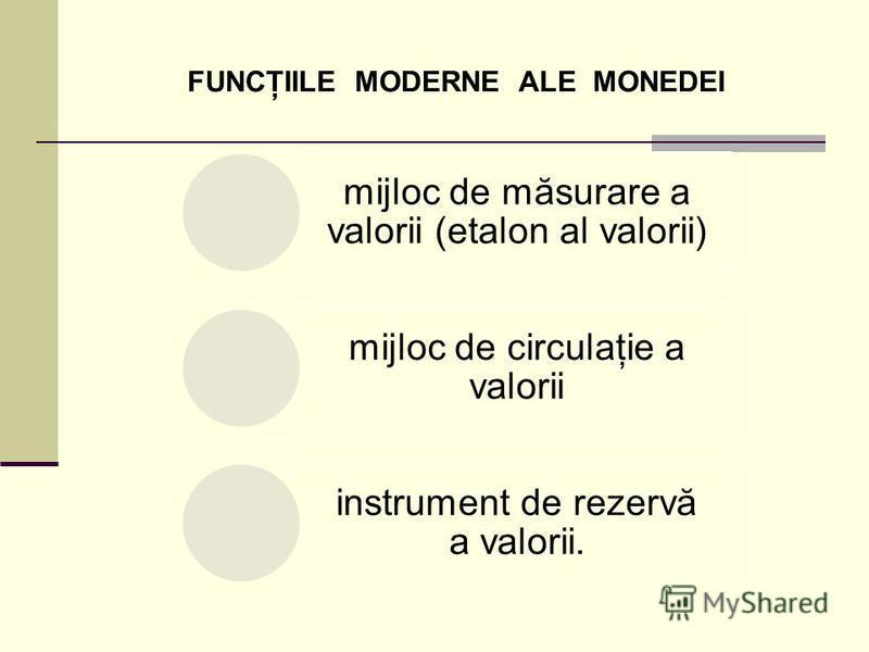 FUNCŢIILE MODERNE ALE MONEDEI mijloc de măsurare a valorii (etalon al valorii) mijloc de circulaţie a valorii instrument de rezervă a valorii.