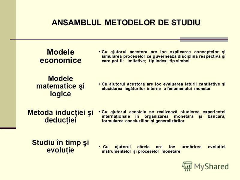 ANSAMBLUL METODELOR DE STUDIU Cu ajutorul acestora are loc explicarea conceptelor şi simularea proceselor ce guvernează disciplina respectivă şi care pot fi: imitative; tip index; tip simbol Modele economice Cu ajutorul acestora are loc evaluarea lat