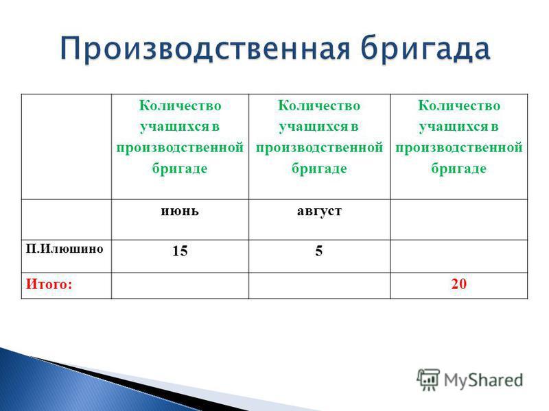 Количество учащихся в производственной бригаде июнь август П.Илюшино 15 5 Итого:20