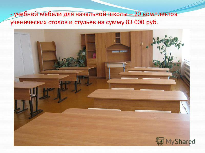 - учебной мебели для начальной школы – 20 комплектов ученических столов и стульев на сумму 83 000 руб.