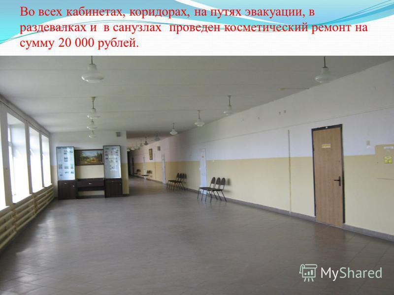 Во всех кабинетах, коридорах, на путях эвакуации, в раздевалках и в санузлах проведен косметический ремонт на сумму 20 000 рублей.