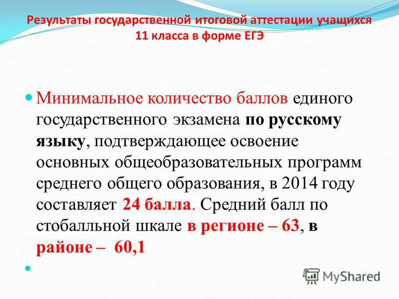 Результаты государственной итоговой аттестации учащихся 11 класса в форме ЕГЭ Минимальное количество баллов единого государственного экзамена по русскому языку, подтверждающее освоение основных общеобразовательных программ среднего общего образования