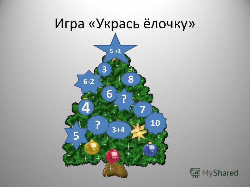 Игра «Укрась ёлочку» 5 +2 8 3 6 6-2 5 10 7 3+4 4 ? ?
