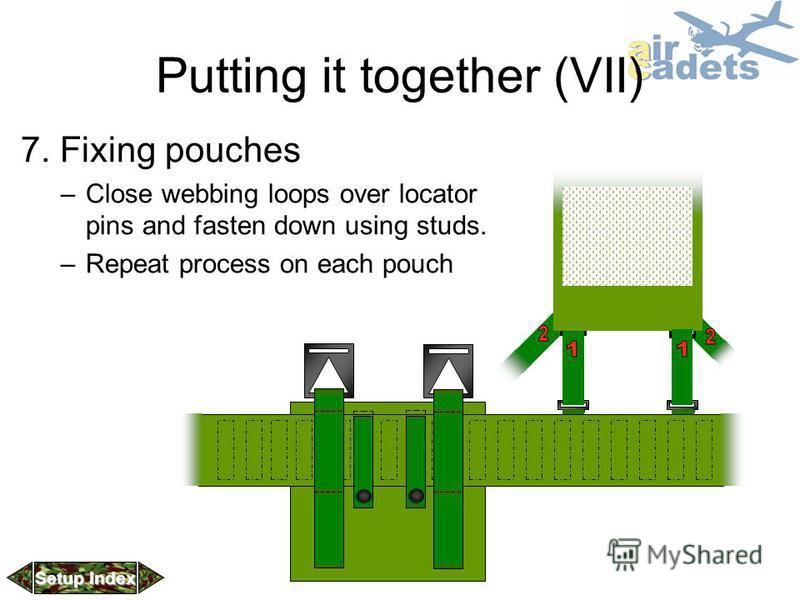 Putting it together (VII) 7. Fixing pouches –Close webbing loops over locator pins and fasten down using studs. –Repeat process on each pouch Setup Index Setup Index