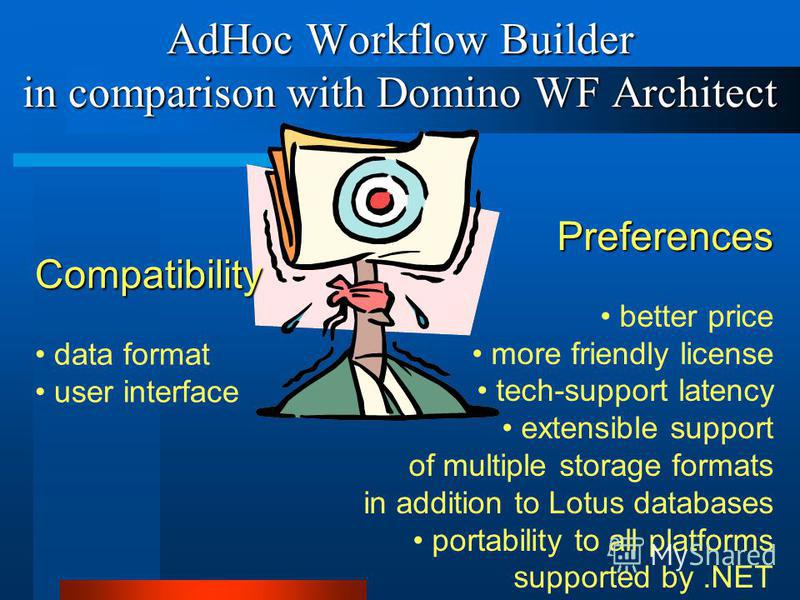 AdHoc Workflow Builder in comparison with Domino WF Architect Compatibility data format user interface Preferences better price more friendly license tech-support latency extensible support of multiple storage formats in addition to Lotus databases p