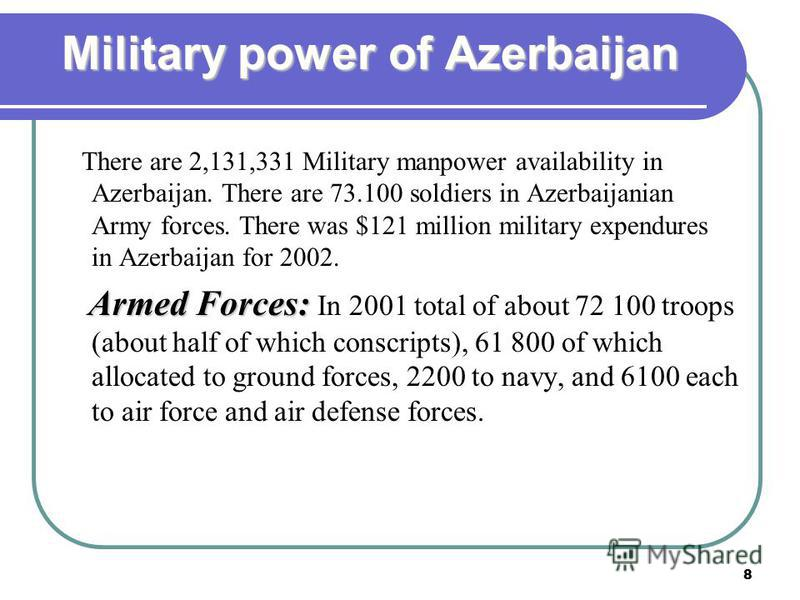 8 Military power of Azerbaijan There are 2,131,331 Military manpower availability in Azerbaijan. There are 73.100 soldiers in Azerbaijanian Army forces. There was $121 million military expendures in Azerbaijan for 2002. Armed Forces: Armed Forces: In