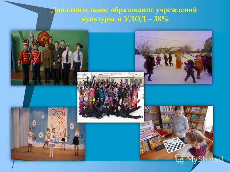 Дополнительное образование учреждений культуры и УДОД – 38%