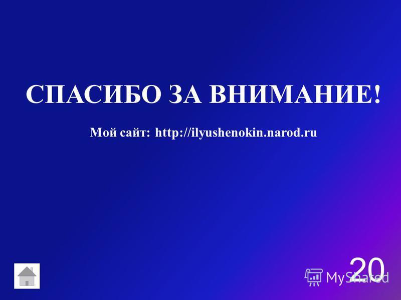 СПАСИБО ЗА ВНИМАНИЕ! 20 Мой сайт: http://ilyushenokin.narod.ru