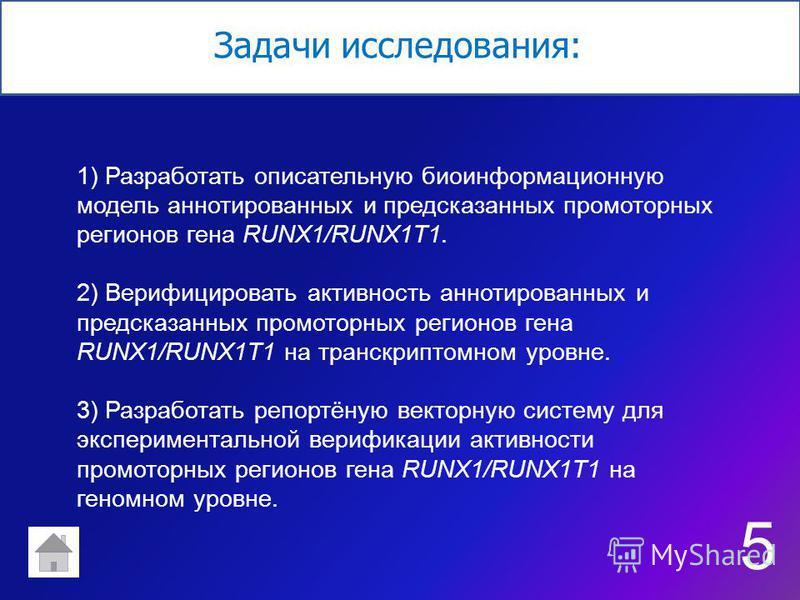 Задачи исследования: 1) Разработать описательную биоинформационную модель аннотированных и предсказанных промоторных регионов гена RUNX1/RUNX1T1. 2) Верифицировать активность аннотированных и предсказанных промоторных регионов гена RUNX1/RUNX1T1 на т