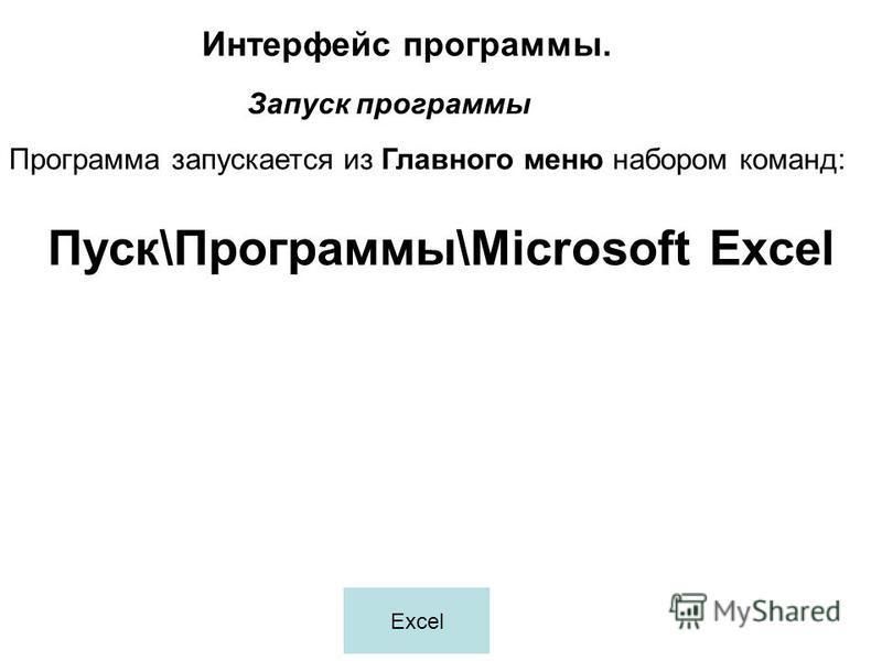 Программа запускается из Главного меню набором команд: Интерфейс программы. Запуск программы Пуск\Программы\Microsoft Excel Excel