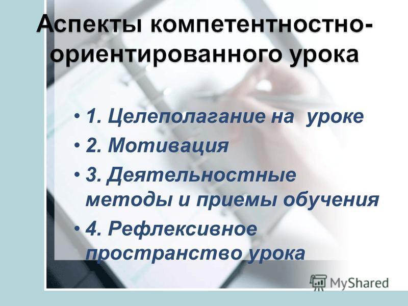 1. Целеполагание на уроке 2. Мотивация 3. Деятельностные методы и приемы обучения 4. Рефлексивное пространство урока