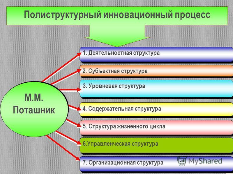 6. Управленческая структура 2. Субъектная структура 3. Уровневая структура 4. Содержательная структура 5. Структура жизненного цикла 1. Деятельностная структура Полиструктурный инновационный процесс М.М. Поташник М.М. Поташник 17 7. Организационная с