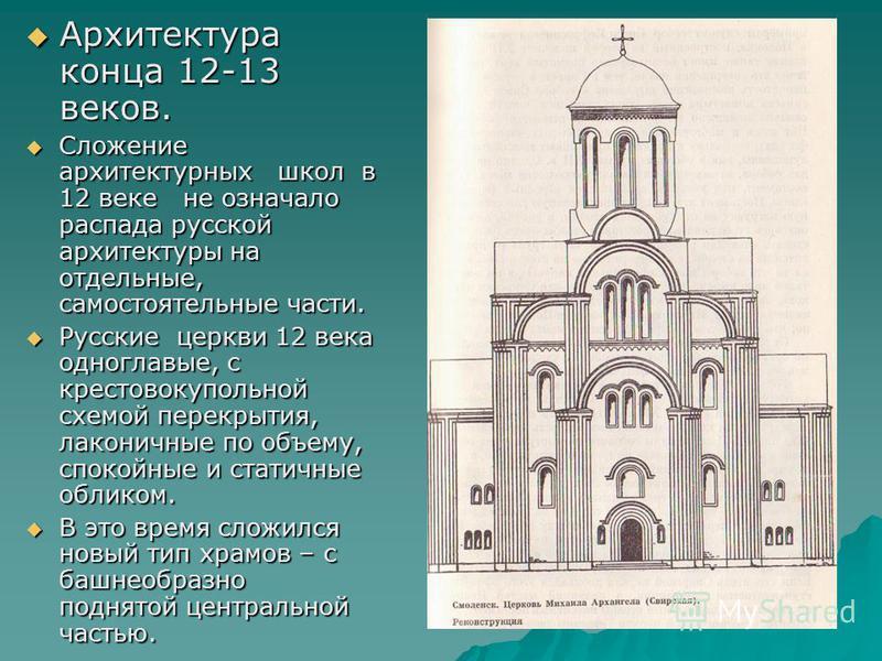 Архитектура конца 12-13 веков. Архитектура конца 12-13 веков. Сложение архитектурных школ в 12 веке не означало распада русской архитектуры на отдельные, самостоятельные части. Сложение архитектурных школ в 12 веке не означало распада русской архитек