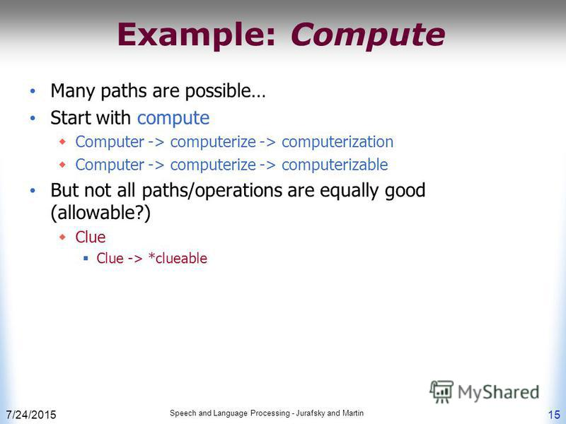 7/24/2015 Speech and Language Processing - Jurafsky and Martin 15 Example: Compute Many paths are possible… Start with compute Computer -> computerize -> computerization Computer -> computerize -> computerizable But not all paths/operations are equal
