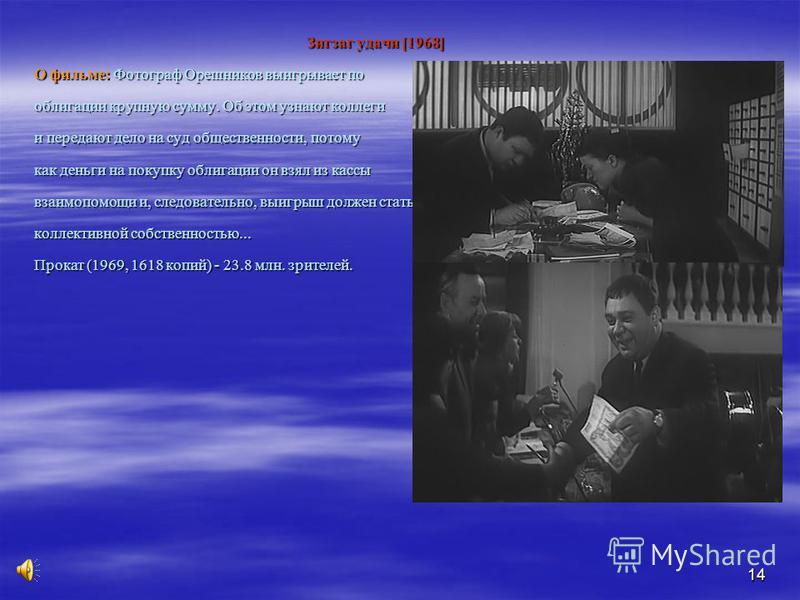 14 Зигзаг удачи [1968] Зигзаг удачи [1968] О фильме: Фотограф Орешников выигрывает по облигации крупную сумму. Об этом узнают коллеги и передают дело на суд общественности, потому как деньги на покупку облигации он взял из кассы взаимопомощи и, следо