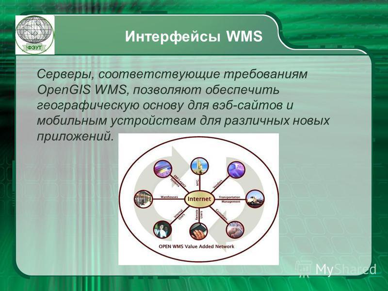 Интерфейсы WMS Серверы, соответствующие требованиям OpenGIS WMS, позволяют обеспечить географическую основу для веб-сайтов и мобильным устройствам для различных новых приложений.