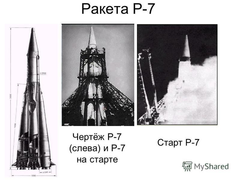 Ракета Р-7 Чертёж Р-7 (слева) и Р-7 на старте Старт Р-7