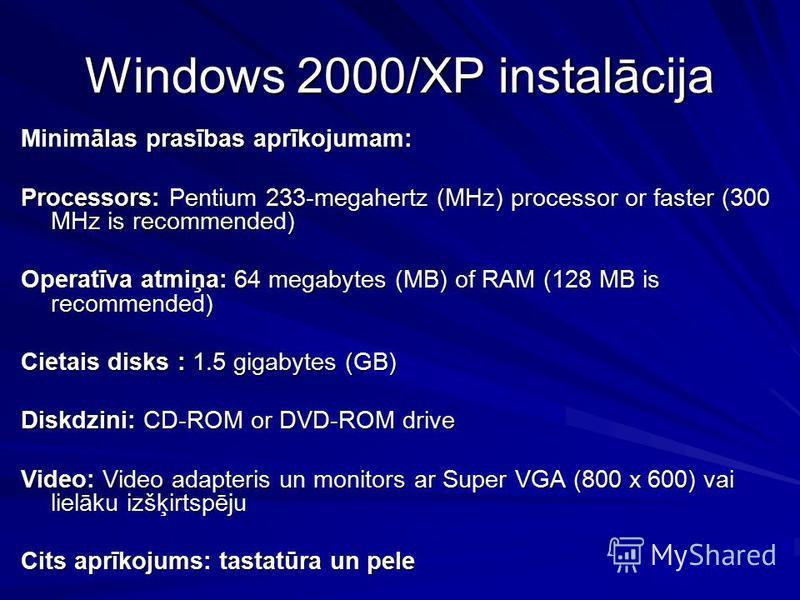 Windows 2000/XP instalācija Minimālas prasības aprīkojumam: Processors: Pentium 233-megahertz (MHz) processor or faster (300 MHz is recommended) Operatīva atmiņa: 64 megabytes (MB) of RAM (128 MB is recommended) Cietais disks : 1.5 gigabytes (GB) Dis